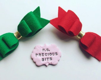 Christmas Red and Green Bow Hair Clip - Christmas Bows, Red Felt Bow, Glitter bow, Stocking Fillers, Green Felt Bow, Christmas Bows
