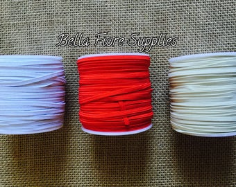 Red Skinny Elastic- White Skinny Elastic- Ivory Skinny Elastic- 1/8 Inch Elastic- Wholesale Elastic- DIY Headband- Elastic by the Yard