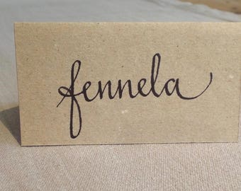 Handwritten place cards for weddings and special occasions.