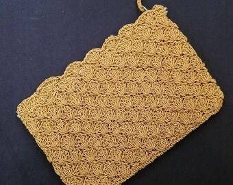 Vintage Golden Crocheted Clutch Evening Bag from Japan