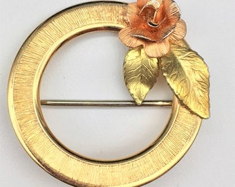 Vintage Krementz Rose, Green & Yellow Gold-Filled Circle Brooch with Rose and Leaves - Ships Free