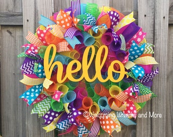 Summer Wreath, Hello Wreath, Colorful Wreath, Hello Deco Mesh Wreath, Summer Mesh Wreath, Spring Wreath