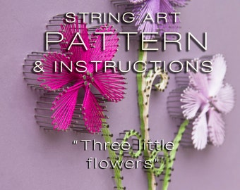 "String art pattern & Instructions ""Three little flowers"" - String art DIY - String art tutorial - String art template - Christmas gift"