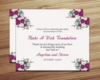 Printable Wedding Favor Donation Card Template