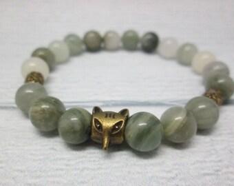 Green bracelet Charm bracelet Gift for friend Healing stone Bracelet with stones Stretch bracelet Mala bracelet Gypsy bracelet Hippie stone