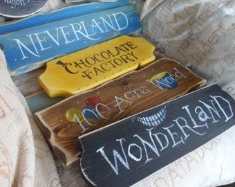 Fairy tale & Storybook signpost sign School reading corner Neverland Hogwarts Rivendell Shire Wonderland 100 Acre Wood Harry Potter Hobbit