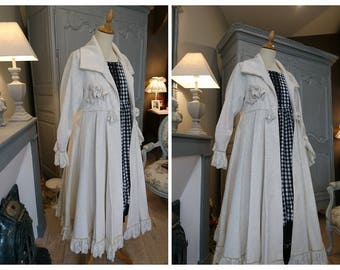 COAT CLARENCE ECRU romantic, Victorian, chabby chic, Bohemian, hippie Gypsy