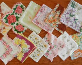 Twelve Vintage Floral Hankies Handkerchiefs Lot #1