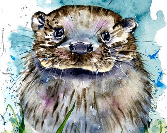 A quality digital print of Ollie Otter from a watercolour by Pauline Merritt