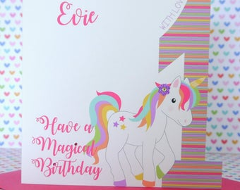 Personalised Handmade Unicorn Girls Birthday Card 1st,2nd,3rd,4th,5th Daughter, Niece, Granddaughter