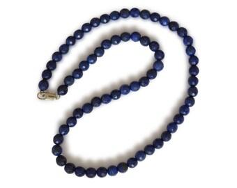 Lapis lazuli necklace, natural lapis lazuli, faceted, dark blue, round, 6mm
