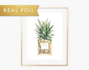 Chanel No 5 Bottle Pineapple Gold Foil Art Print 11x14, 8x10, 5x7