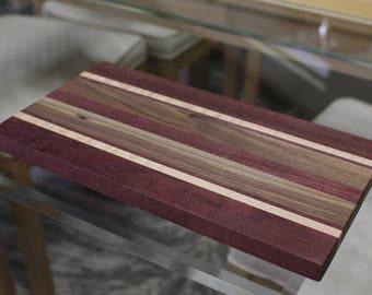 Handmade Walnut, Maple, and Purple Heart Cutting Board