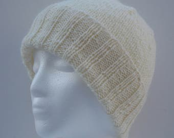 Womens Winter Wool Hats - Cream - Off White - Convertible Collection - Wool Hats - Ready To Ship!
