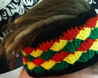 Handmade crochet wide  rasta headband.