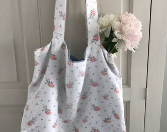 French floral linen bag blue