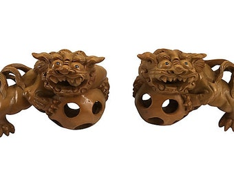 Mid Century Hand Carved Foo Dogs