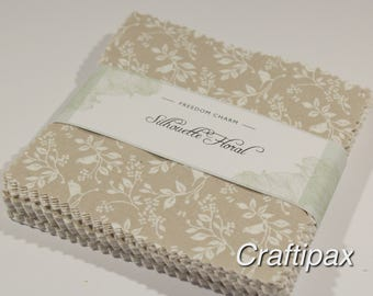 Fabric Freedom Charm Pack Silhouette Floral Creams Beige self patterns quilting patchwork material UK seller