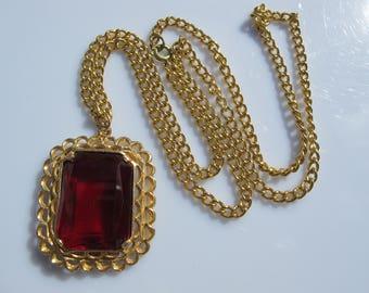 Long vintage pendant necklace, Amber glass big vintage pendant, long golden chain glass statement pendant, 1960s retro pendant eames mod