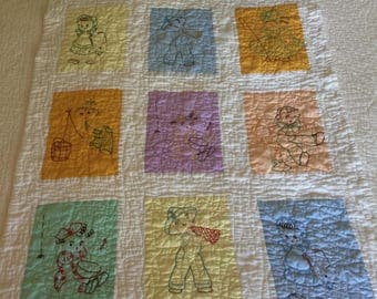 Vintage 1950's Baby Quilt - Nursery Rhymes - Embroidery & Quilted