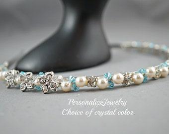 Bridal headband Blue Green Topaz crystals Ivory pearls Wedding accessories Formal hair band Sparkly Metal band for wedding bridesmaid hair
