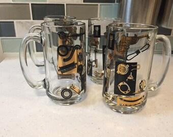 set of 4 mugs - unusual machine shop pattern - Gold and Black
