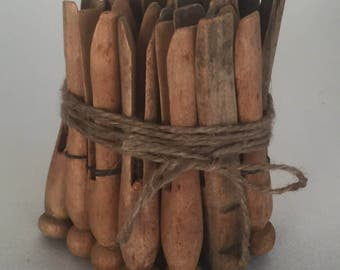 Assorted Mix of 22 Vintage Weathered Wooden Clothes Pins