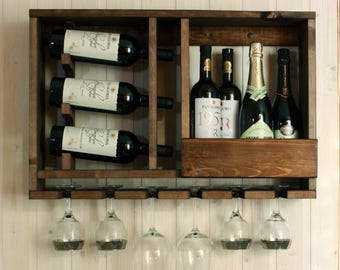 Wooden wine rack - Wedding gift - Gift for father - Rustic wine rack - Rustic decor - Provincial furniture - Wine rack wall mounted