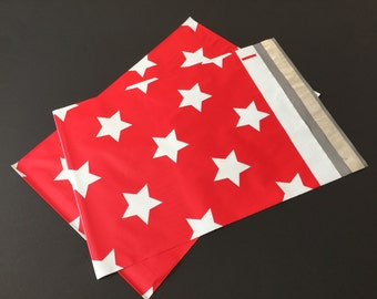 25 Designer Poly Mailers 10x13 Christmas Red With White Stars Envelopes Shipping Bags