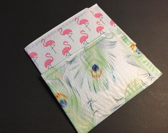 30 6x9 FLAMINGO and PEACOCK  Bubble Mailers Size 0 Self Sealing Shipping  Padded Envelopes 15 Each