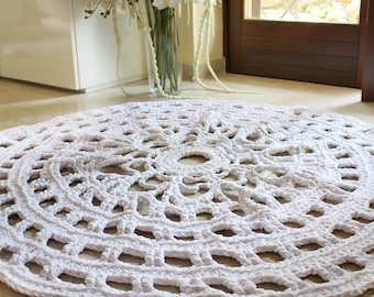 Doily Rug Pattern, Crochet Rug Pattern, Crochet Pattern, Hygge Rugs, Bedroom Rug, Round Rug Pattern, Rug Tutorial, Housewarming Gift, Gift