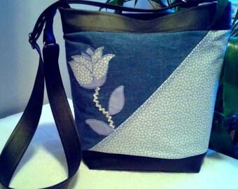 Navy Blue vegan leather and denim bag with adjustable shoulder strap