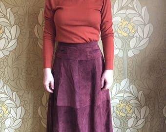 70's burgundy suede skirt