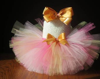 Infant Baby Toddler Pink and Gold 1st Birthday Cake Smash Fluffy Tutu~ Size: 6-12 Months- Ready to Go!