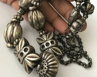 Vintage Ethnic  Tribal Beaded  Necklace . Embossed silver plated beads