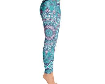 Art Leggings - Funky Leggings, Blue and Purple Mandala Leggings, Printed Tights, Yoga Tights, Yoga Pants, Stretch Pants
