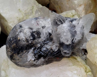 Azeztulite,Toermaline fox made from gems, resin, aluminium, brass, copper and steel
