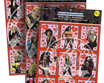 Heavy Metal Heroes Valentine's Day Cards - All Three Sets - Save 10 bucks!