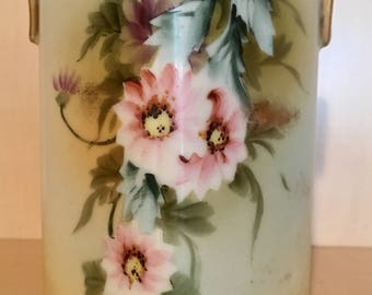 Vintage Hand Painted Floral and Gold Vase