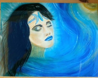 "Moon Goddess Poster, 40cm x 30cm, 16x12"" by Eva Maria Hunt, Calming Emotions, Working with the Throat Chakras, Colour Blue"