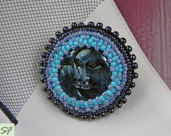 Sun and Moon art clay brooch, Beadwork statement brooch embroidered beads, black blue round brooch, Beaded brooch, figural, Gift her