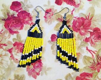 Yellow, Black & White Beaded Earrings