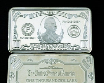 Collectors One Troy Ounce Silver Clad One Thousand Dollar Series Bar  1000 Dollar Series  Clad