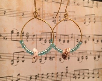 Gold Puka Shell Earrings | Gold Puka Shell Hoops | Puka Shell Earrings