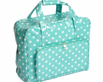 Hobbygift Light Blue Polka Dot Sewing Machine Storage Bag