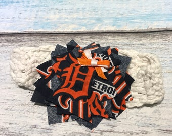 Detroit Tigers baseball baby headband, blue and orange headband, newborn baby headband, unique baby gift, baby or toddler girl headband