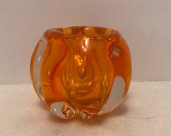 Heavy Orange Glass Candleholder