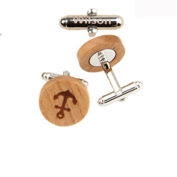 PersonalizedName,Anchor Symbol Wood Cufflinks,Anchor Cufflinks,Anchor Gifts for Men,Relationship Gifts for Men,Gift for Nautical Sailor