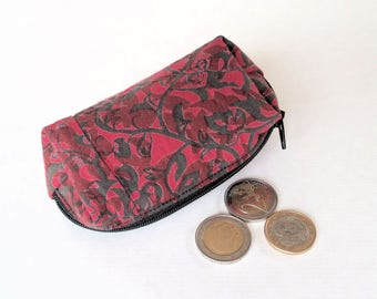 wallet red Bohemian and flowery black, wife, small ethnic Kit, gift woman wallet, wallet Bohemian, friend gift