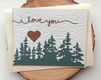 "Handmade Valentine Anniversary Card ""I love you"" Forest Love"